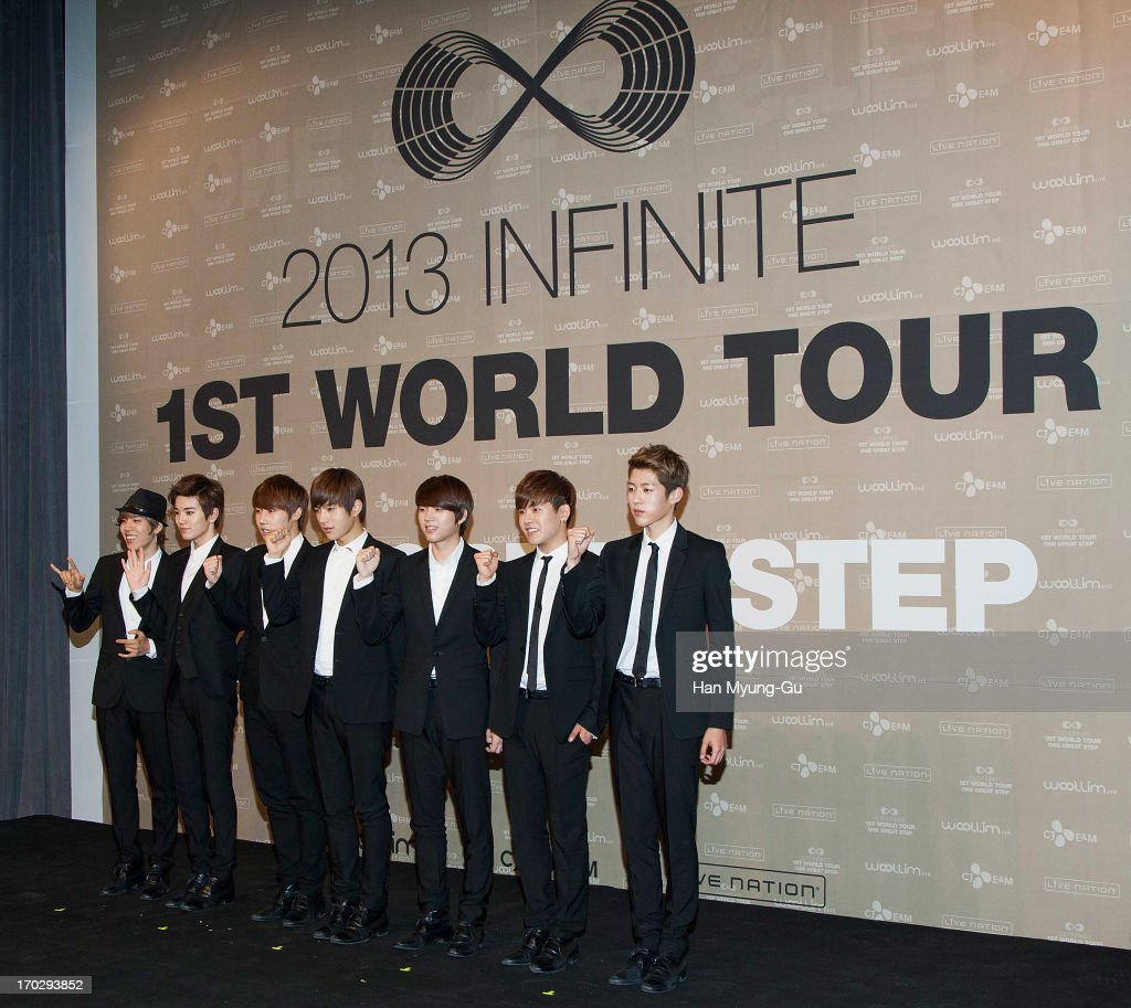 Dong Woo, Sung Jong, Sung Kyu, L. Kim, Woo Hyun, Hoya and Sung Yeol of South Korean boy band Infinite during the 2013 Infinite 1st World Tour 'One Great Step' Press Conference on June 10, 2013 in Seoul, South Korea.