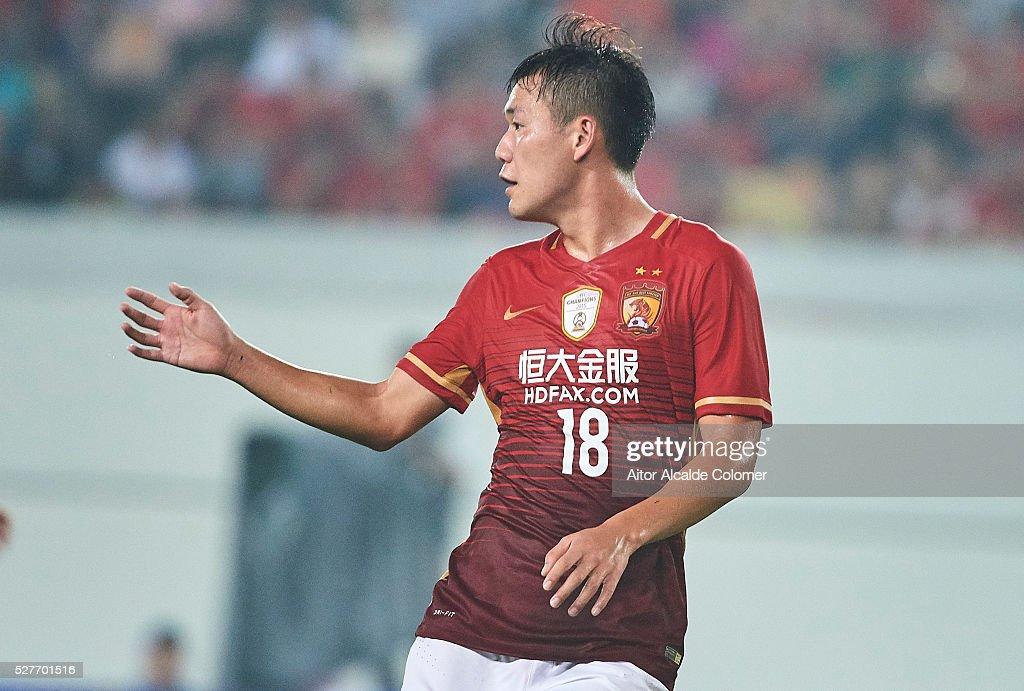 Dong Xuesheng of Guangzhou Evergrande reacts during the AFC Asian Champions League match between Guangzhou Evergrande FC and Sydney FC at Tianhe Stadium on May 3, 2016 in Guangzhou, China.