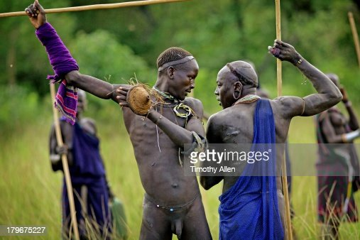 Donga Tribal Warriors In Head To Head Standoff Stock Photo