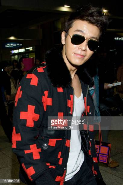 Donghae of boy band Super Junior M is seen upon arrival at Incheon International Airport on February 25 2013 in Incheon South Korea