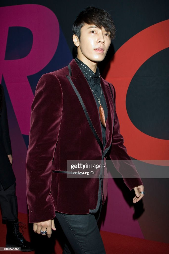 Donghae of South Korean boy band Super Junior arrives at the 2012 SBS Korea Pop Music Festival named 'The Color Of K-Pop' at Korea University on December 29, 2012 in Seoul, South Korea.