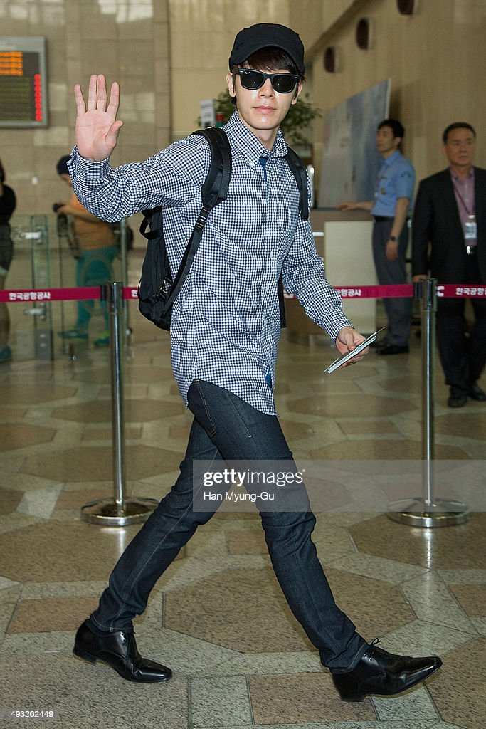 Donghae-si South Korea  city photos : Donghae of South Korean boy band Super Junior M is seen on departure ...