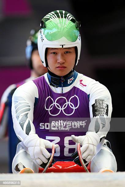 Donghyeon Kim of South Korea gets prepared during a men's luge training session ahead of the Sochi 2014 Winter Olympics at the Sanki Sliding Center...