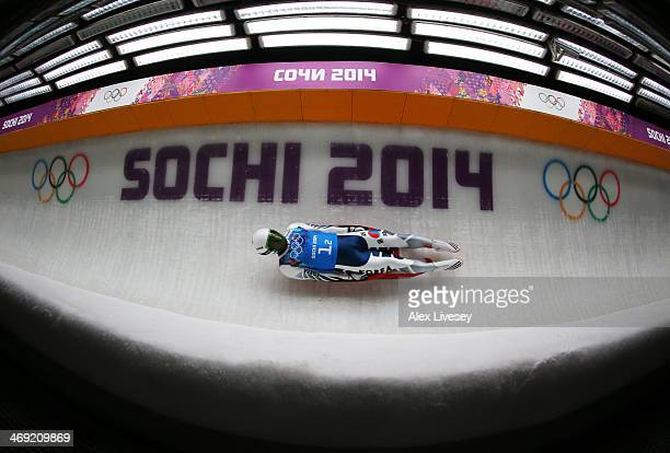 Donghyeon Kim of South Korea makes a run during the Luge Relay on Day 6 of the Sochi 2014 Winter Olympics at Sliding Center Sanki on February 13 2014...