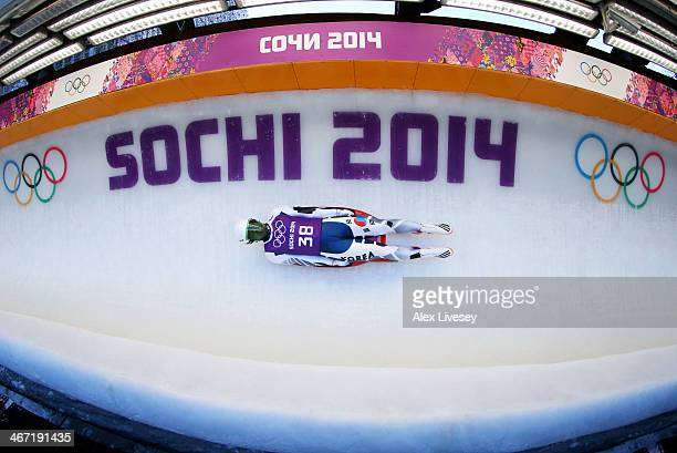 Donghyeon Kim of South Korea makes a run during the men's luge training session ahead of the Sochi 2014 Winter Olympics at the Sanki Sliding Center...