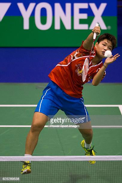 Dongping with partner Li Yinhui of China in action while playing against CHIANG Kai Hsin and HUNG Shih Han of Chinese Taipei during the 2016 Hong...