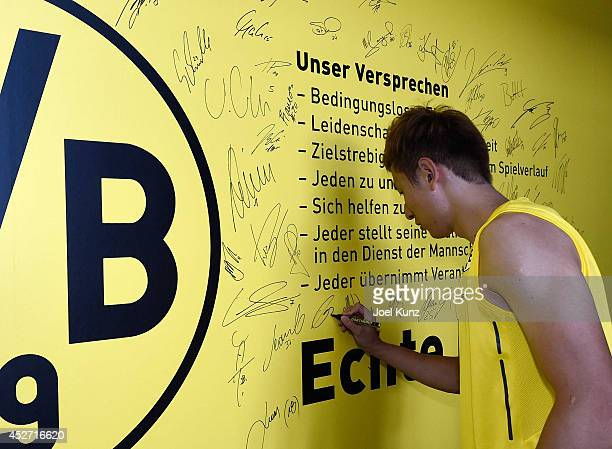 DongWon Ji at the training center after a training session at Borussia Dortmund training ground on July 26 2014 in Dortmund Germany