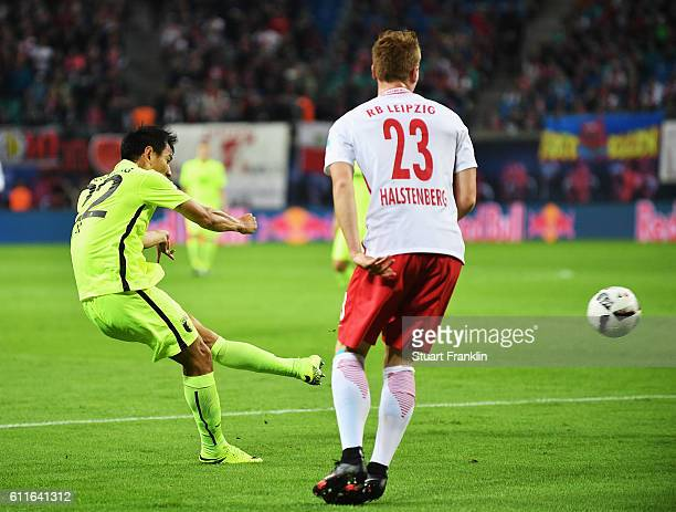 DongWon Ji of Augsburg scores his goal during the Bundesliga match between RB Leipzig and FC Augsburg at Red Bull Arena on September 30 2016 in...