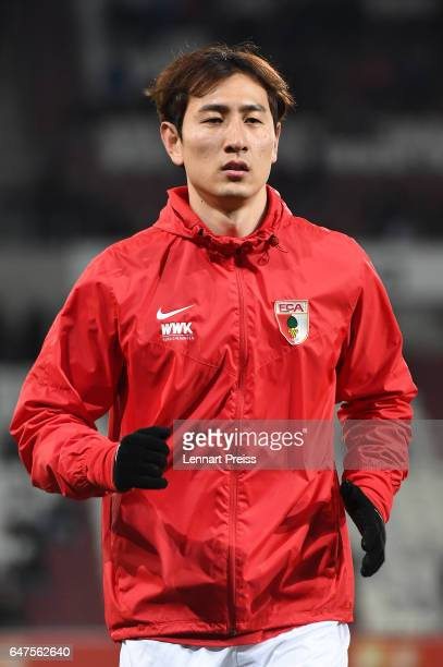DongWon Ji of FC Augsburg warms up prior to the Bundesliga match between FC Augsburg and RB Leipzig at WWK Arena on March 3 2017 in Augsburg Germany