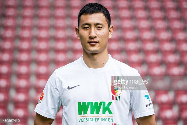 DongWon Ji poses during the FC Augsburg Team Presentation at WWKArena on July 8 2015 in Augsburg Germany