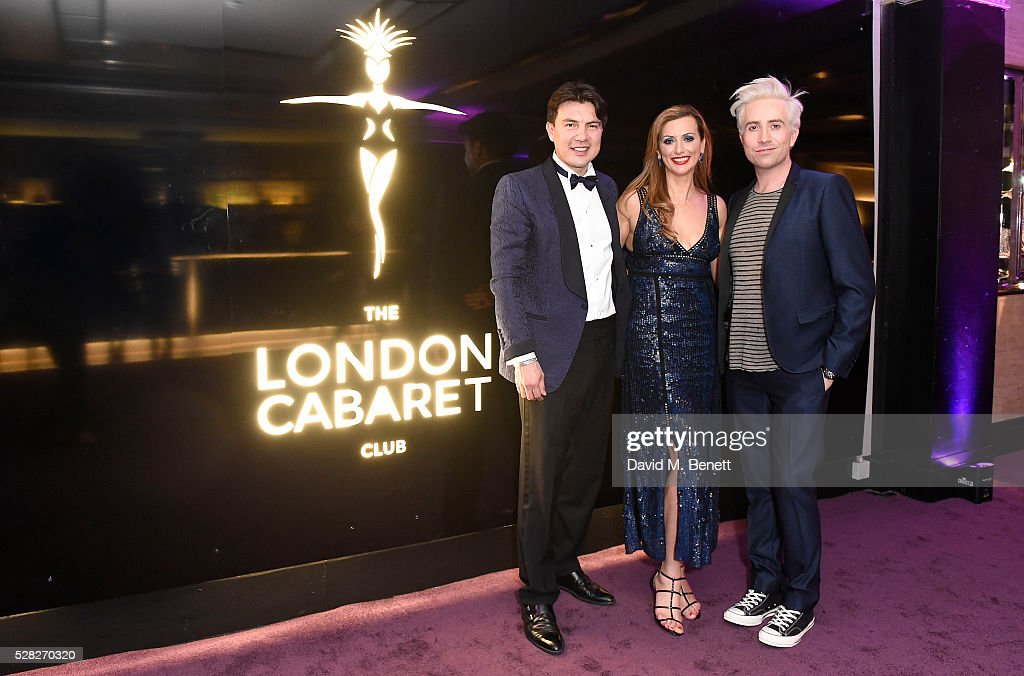 Doni Fierro Evelina Girling and Nick Grimshaw attend The London Cabaret Club launch party at The Bloomsbury Ballroom on May 4 2016 in London England