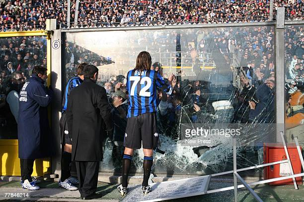 Doni of Atlanta tries to talk to fans at the Serie A match between Atalanta and AC Milan on November 11 2007 in Bergamo Italy The match was suspended...