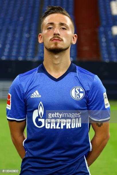 Donis Avdijaj of FC Schalke 04 poses during the team presentation at Veltins Arena on July 12 2017 in Gelsenkirchen Germany