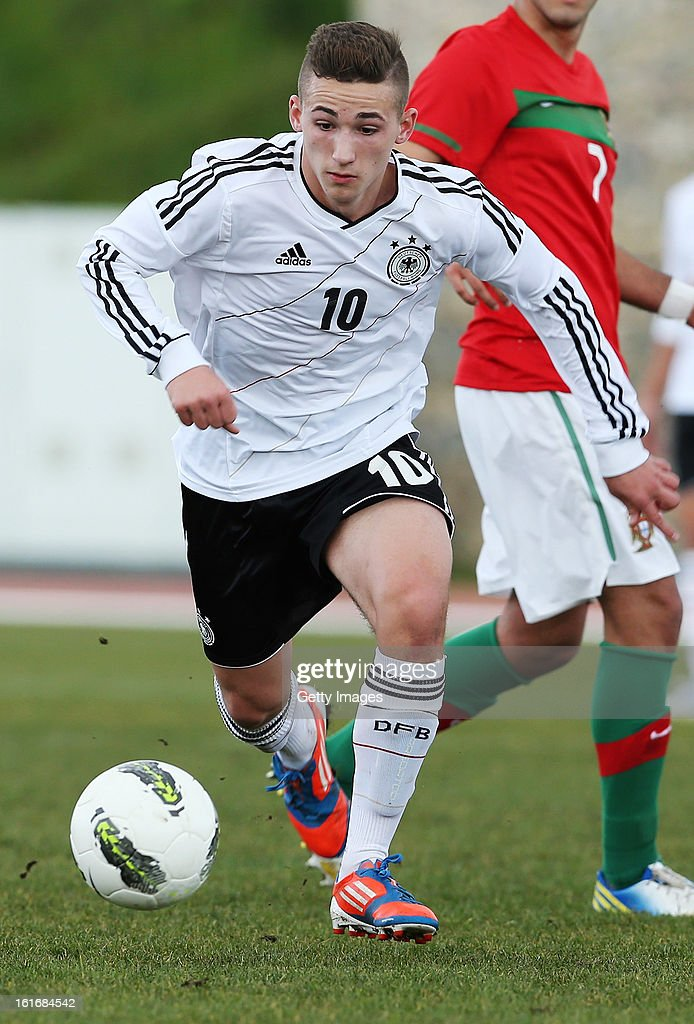 Donis Avdijaj of Germany in action during the Under17 Algarve Youth Cup match between U17 Portugal and U17 Germany at the Stadium Bela Vista on February 12, 2013 in Parchal, Portugal.
