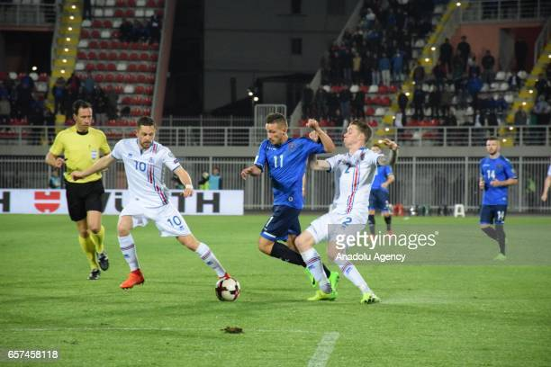 Donis Avdijaj of Kosovo in action during the 2018 FIFA World Cup Qualification match between Kosovo and Iceland at the LoroBorici stadium in Shkoder...