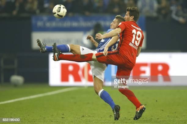 Donis Avdijaj of Schalke 04 David Abraham of Eintracht Frankfurtduring the Bundesliga match between Schalke 04 and Eintracht Frankfurt on January 27...