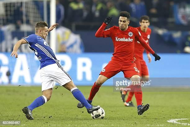 Donis Avdijaj of Schalke 04 Omar Mascarell of Eintracht Frankfurtduring the Bundesliga match between Schalke 04 and Eintracht Frankfurt on January 27...