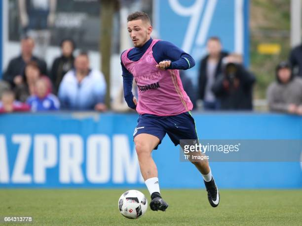 Donis AVDIJAJ of Schalke controls the ball during a training session at the Schalke 04 Training center on March 29 2017 in Gelsenkirchen Germany