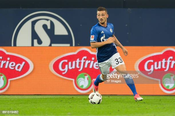Donis Avdijaj of Schalke controls the ball during to the Bundesliga match between FC Schalke 04 and Hamburger SV at VeltinsArena on May 13 2017 in...