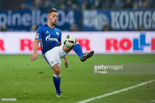 Donis Avdijaj of Schalke in action during the Bundesliga match between FC Schalke 04 and Eintracht Frankfurt at VeltinsArena on January 27 2017 in...