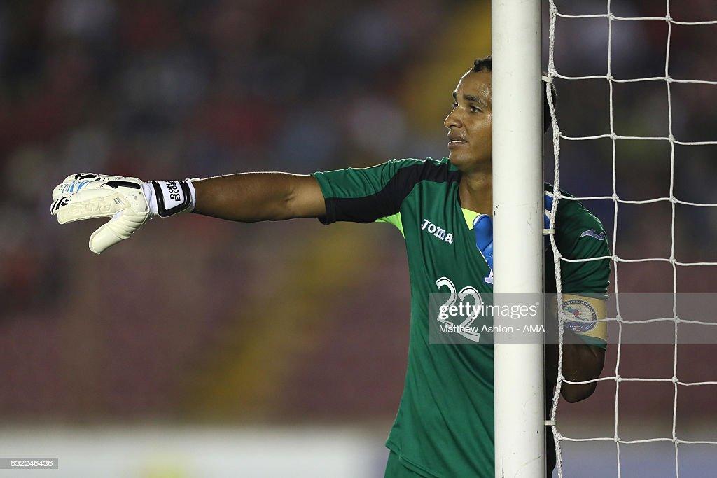 Donis Escober of Honduras looks on during the Copa Centroamericana match between Honduras and Costa Rica at Estadio Rommel Fernandez on January 20, 2017 in Panama, Ciudad de, Panama.