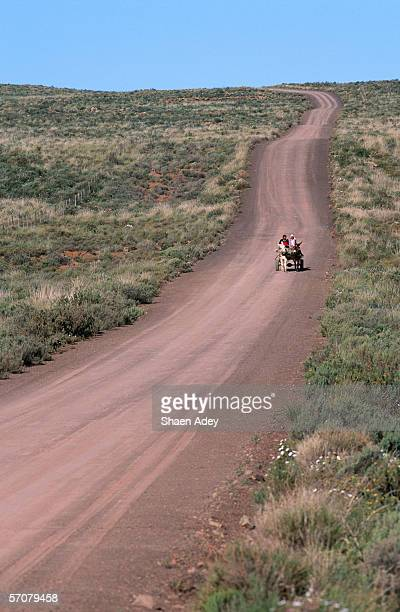 A Donkey Cart Coming Down a Dirt Road