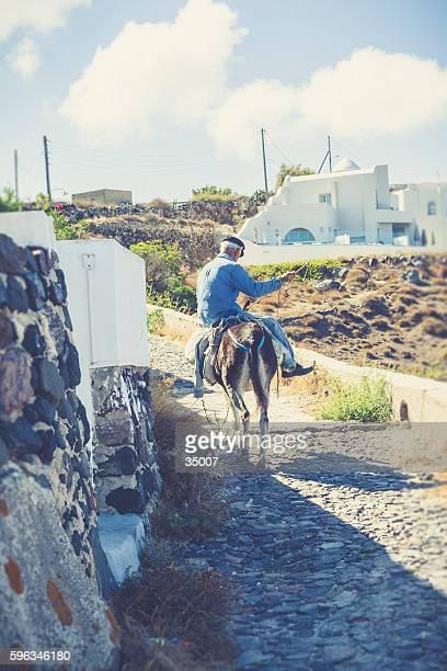 donkey man at santorini island