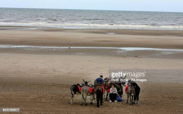 Donkey rides on Blackpool beach as most of Britain experiences warm weather