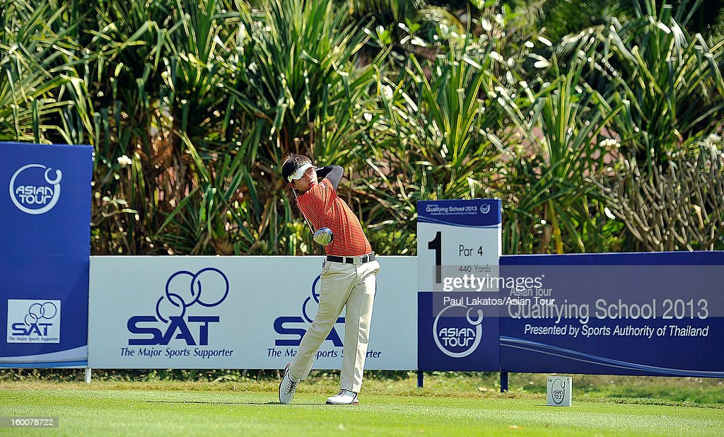 Donlaphatchai Niyomchon of Thailand plays a shot during round four of the Asian Tour Qualifying School Final Stage at Springfield Royal Country Club on January 26, 2013 in Hua Hin, Thailand.