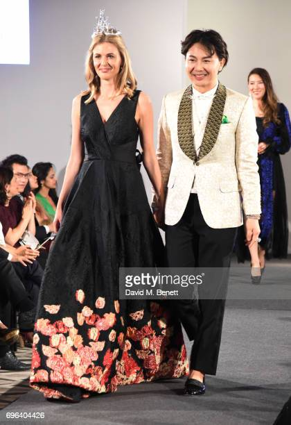 Donna Air and Beau Han Xu attend the VIP launch of the new Beau Han Xu Couture Diamond jewellery collections at Claridge's Hotel on June 15 2017 in...