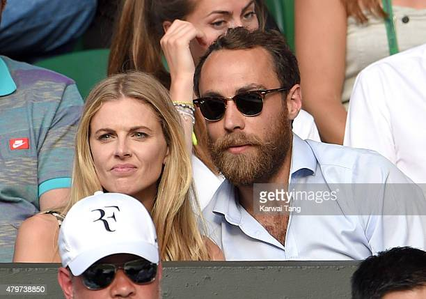 Donna Air and James Middleton attend day seven of the Wimbledon Tennis Championships at Wimbledon on July 6 2015 in London England