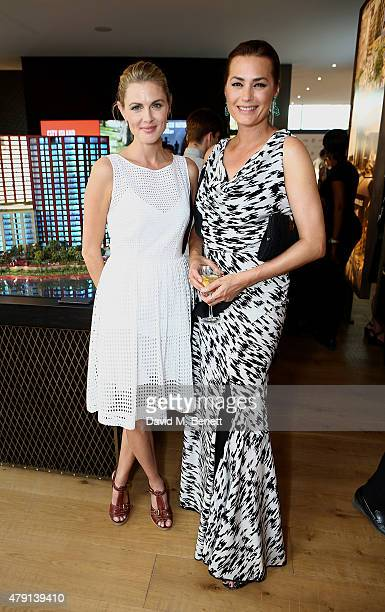 Donna Air and Yasmin Le Bon attend as Eco World Ballymore welcomes English National Ballet to its new home on London City Island on July 1 2015 in...