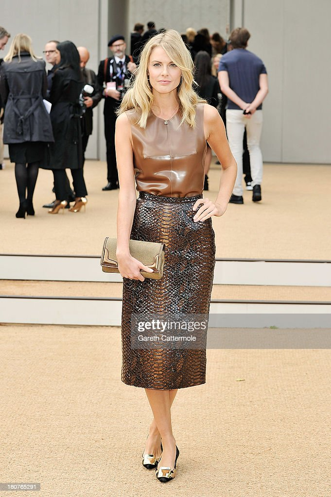 Donna Air arrives at Burberry Prorsum Womenswear Spring/Summer 2014 show during London Fashion Week at Kensington Gardens on September 16, 2013 in London, England.