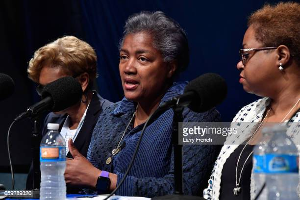 Donna Brazile speaks during SiriusXM's Progress Channel Presents For Colored Girls Who Have Considered Politics A Women's History Month Panel...