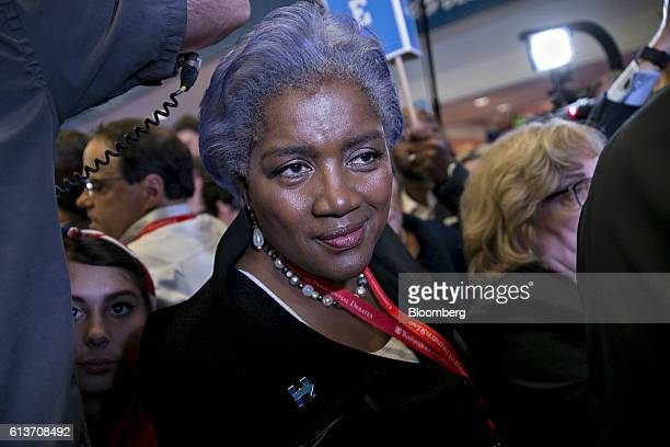 Donna Brazile vice chair of the Democratic National Committee walks through the spin room after the second US presidential debate at Washington...