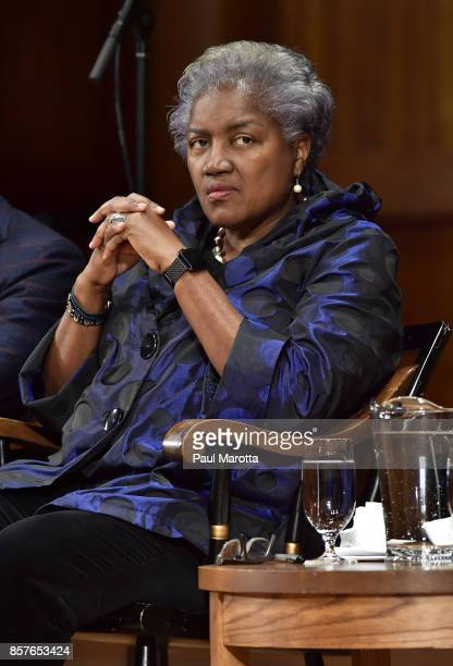 Donna Brazile was one of eight recipients of the 2017 WEB DuBois Medal at Harvard University's Sanders Theatre on October 4 2017 in Cambridge...