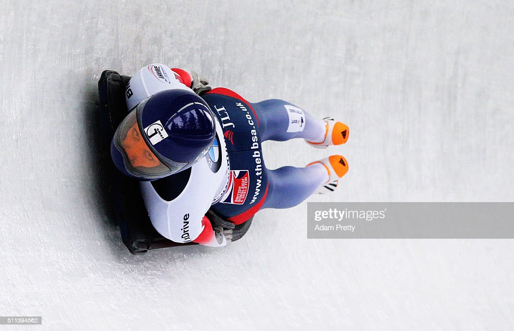 Donna Creighton of Great Britain completes her third run during day 6 of the 2016 IBSF World Championships at Olympiabobbahn Igls on February 20, 2016 in Innsbruck, Austria.