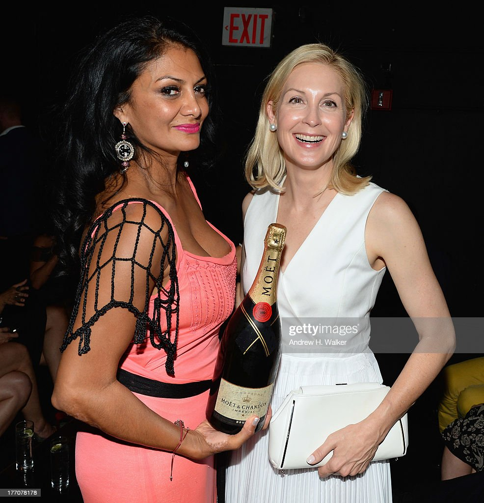 Donna D'Cruz (L) and Kelly Rutherford attend Moet & Chandon Celebrates Its 270th Anniversary With New Global Brand Ambassador, International Tennis Champion, Roger Federer at Chelsea Piers Sports Center on August 20, 2013 in New York City.