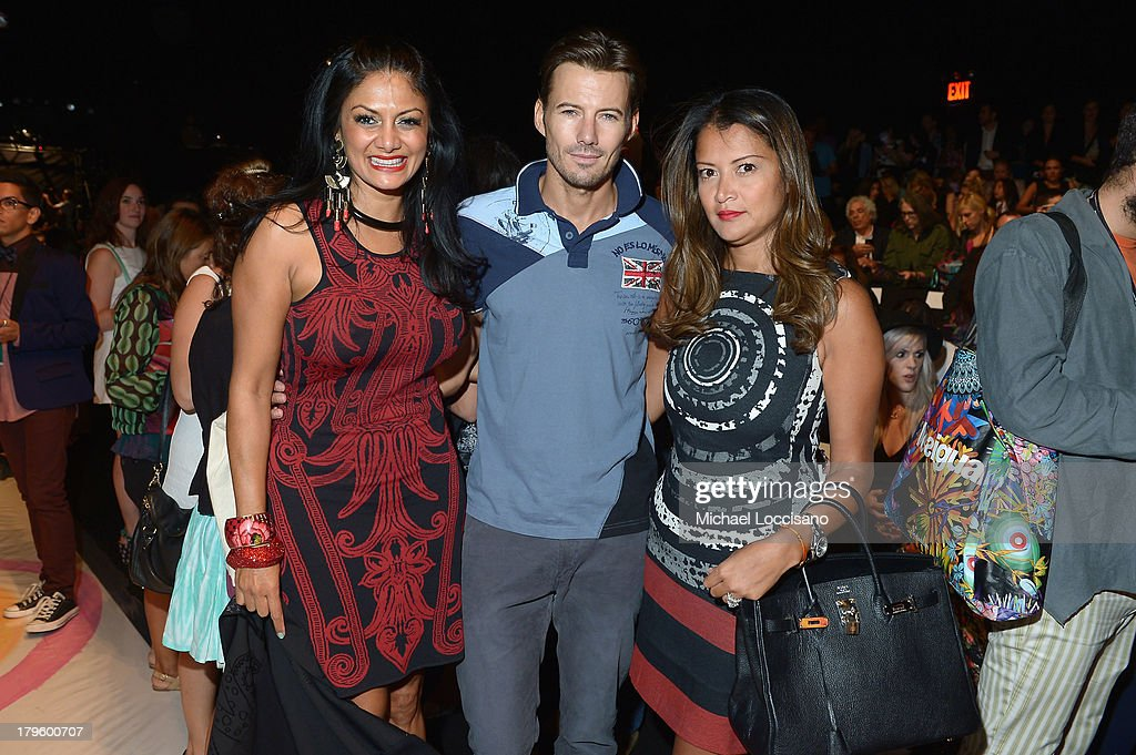 DJ Donna D'Cruz, model Alex Lundquist and Keytt Lundquist attend the Desigual Spring 2014 fashion show during Mercedes-Benz Fashion Week at The Theatre at Lincoln Center on September 5, 2013 in New York City.