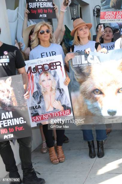 Donna D'Errico and actress Mena Suvari are seen on November 24 2017 at The Fur Free Friday Peaceful Protest March in Los Angeles CA