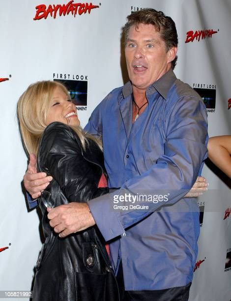 Donna D'Errico and David Hasselhoff during Pamela Anderson Hosts DVD Release Of 'Baywatch' Seasons One And Two Arrivals at Casa Del Mar in Santa...
