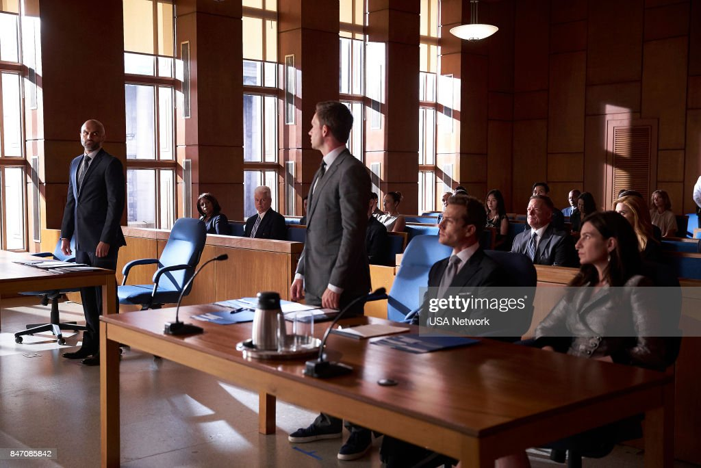 SUITS -- 'Donna' Episode 710 -- Pictured: (l-r) Usman Ally as Andrew Malik, Patrick J. Adams as Mike Ross, Gabriel Macht as Harvey Specter --