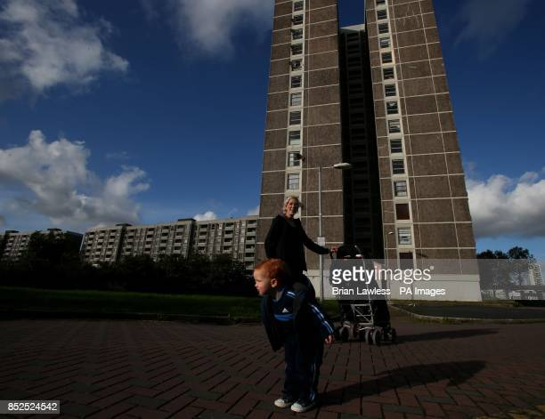 Donna Freeman and her son Luke outside the Joseph Plunkett tower Donna is the daughter of Teresa Freeman one of the last remaining residents in the...