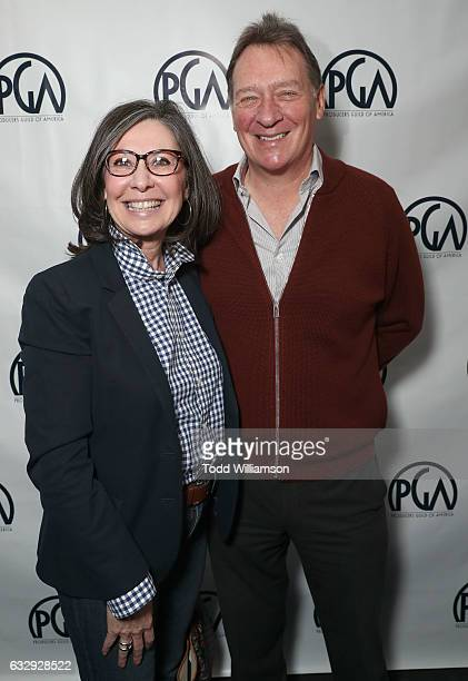 Donna Gigliotti and PGA President Gary Lucchesi attend the 28th Annual Producers Guild Awards Nominees Breakfast at Saban Theatre on January 28 2017...