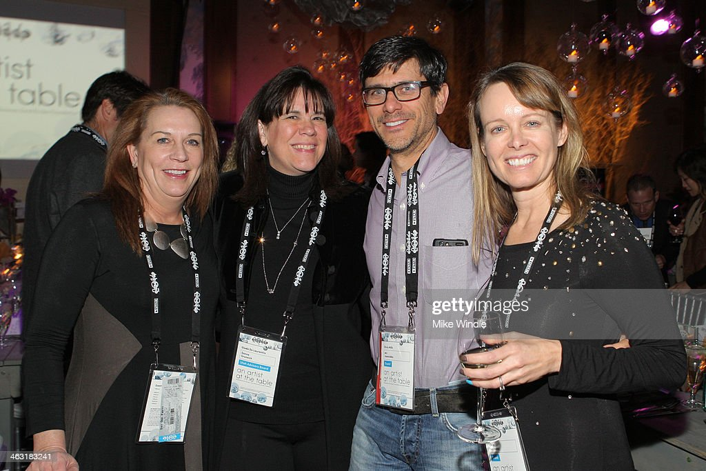 Donna Gruneich, Ari Ioannides and Chris Ioannides attend An Artist at the Table: Dinner Program during the 2014 Sundance Film Festival at Stein Eriksen Lodge on January 16, 2014 in Park City, Utah.