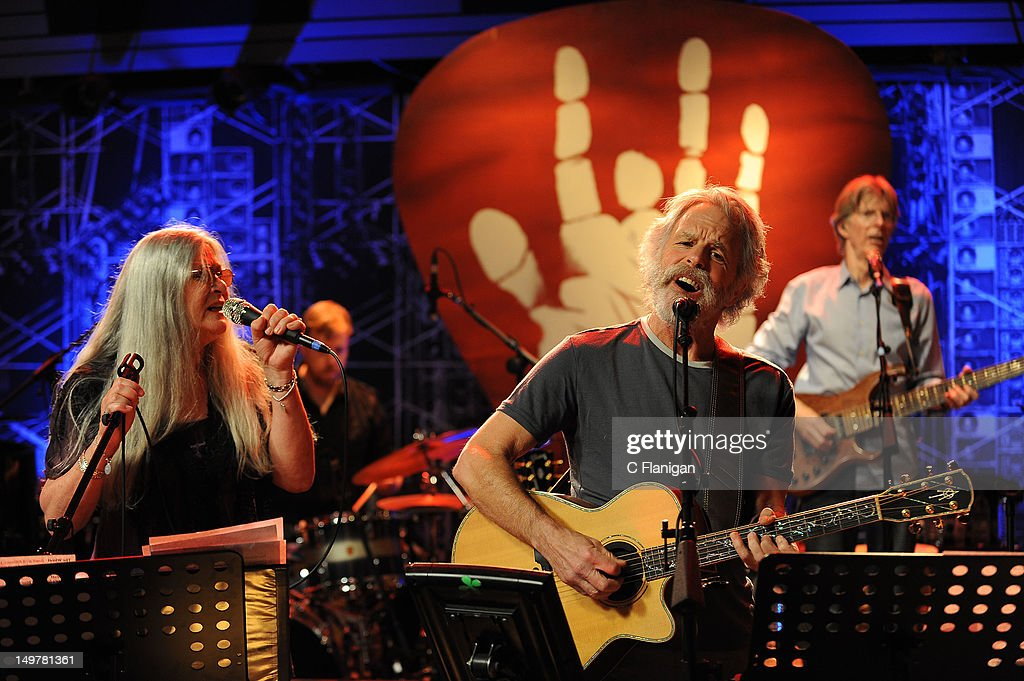 Donna Jean Godchaux, Joe Russo, Bob Weir and Phil Lesh perform during the 'Move Me Brightly' 70th Birthday Tribute for Jerry Garcia at TRI Studios on August 3, 2012 in San Rafael, California.