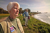 Donna Jordan ex mayor of Carpinteria and Ted Rhodes stand near the site of a proposed 14–story high oil drilling rig on the property of Venoco Oil...