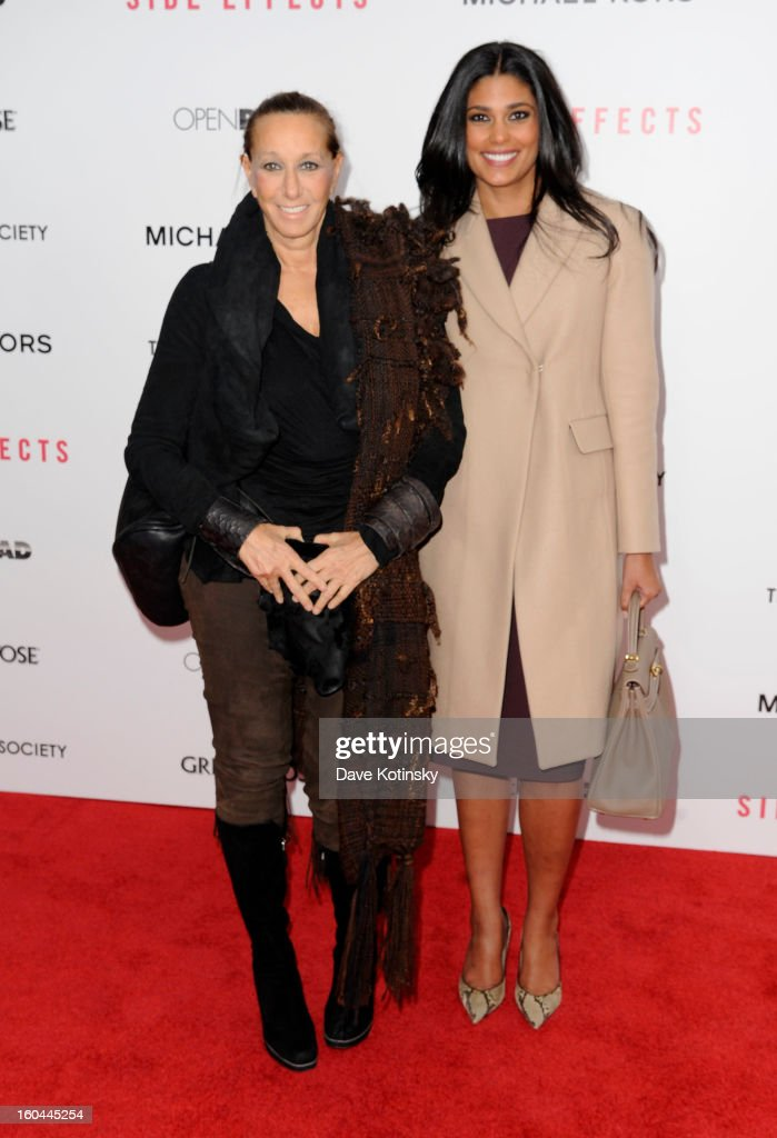 Donna Karan and Rachel Roy attend the premiere of 'Side Effects' hosted by Open Road with The Cinema Society and Michael Kors at AMC Lincoln Square Theater on January 31, 2013 in New York City.