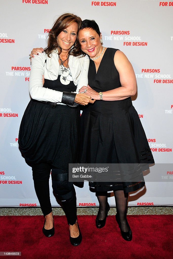 Donna Karan and Sheila C Johnson attend the 2012 Parsons Fashion benefit at the Pier 60 on May 1 2012 in New York City