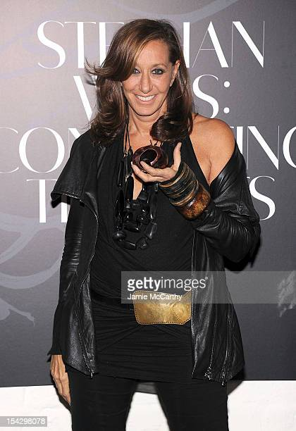 Donna Karan attends 'Connecting The Dots' Book Launch Exhibition Opening at Donna Karan's Urban Zen Center at the Stephen Weiss Studio on October 17...